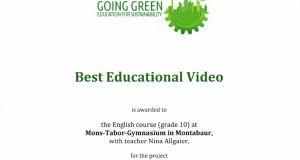 Best Educational Video - Erfolg beimGoing Green-Wettbewerb 2019